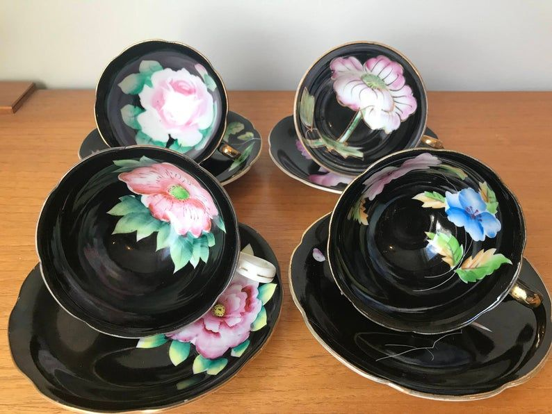 Mismatched Black Tea Set, Japanese Hand Painted Floral Tea Cups and Saucers, Flower and Bird Teacups, Made in Japan, Fine China