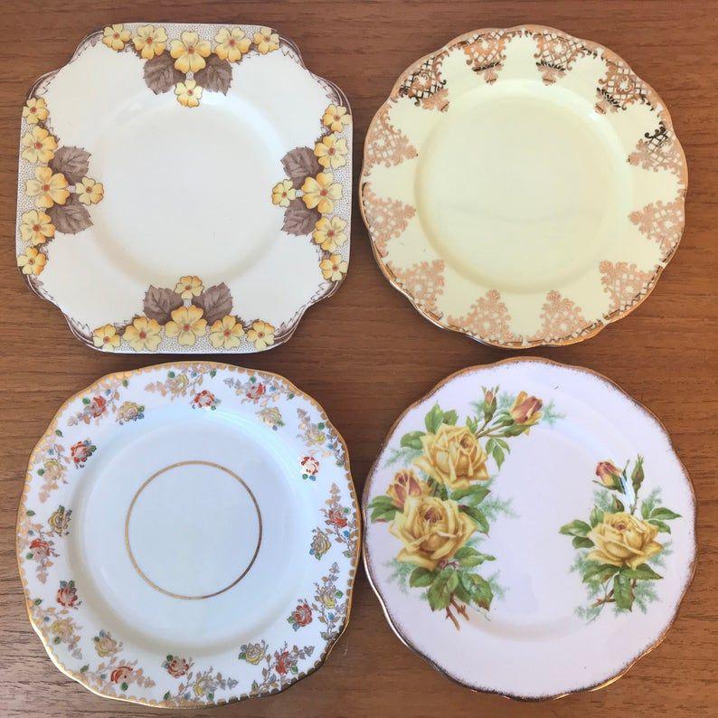Mismatched China Plates, Yellow Floral Bone China Side Plates, Bread and Butter Plates, Royal Albert, Royal Grafton, Royal Stafford