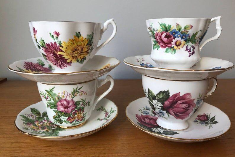 Mismatched China Teacups and Saucers, Vintage Floral Tea Cups and Saucers, Bone China, Tea Party