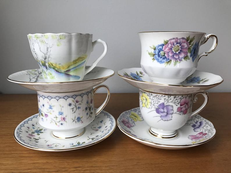 China Tea Set, Mismatched Teacups and Saucers, Pink, Purple, Blue and Yellow Tea Cups and Saucers, Vintage Tea party