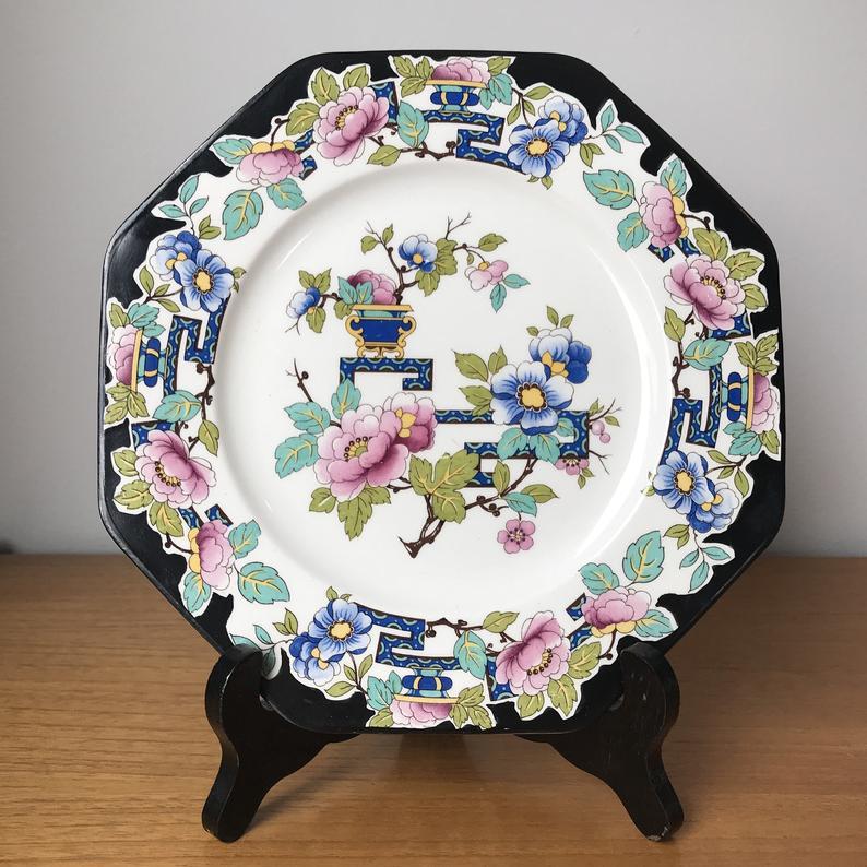 Antique Wedgwood and Co. Ld. Nankin Vintage Serving Plate, Octagon Black Oriental Floral Plate