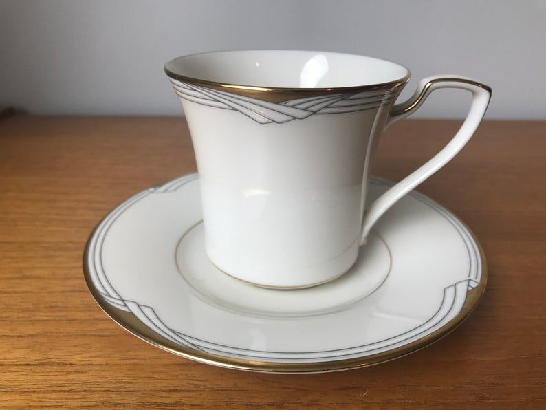 Noritake Golden Cove Coffee / Tea Cup and Saucer, Gold Art Deco Style Pattern Teacup and Saucer, Fine China