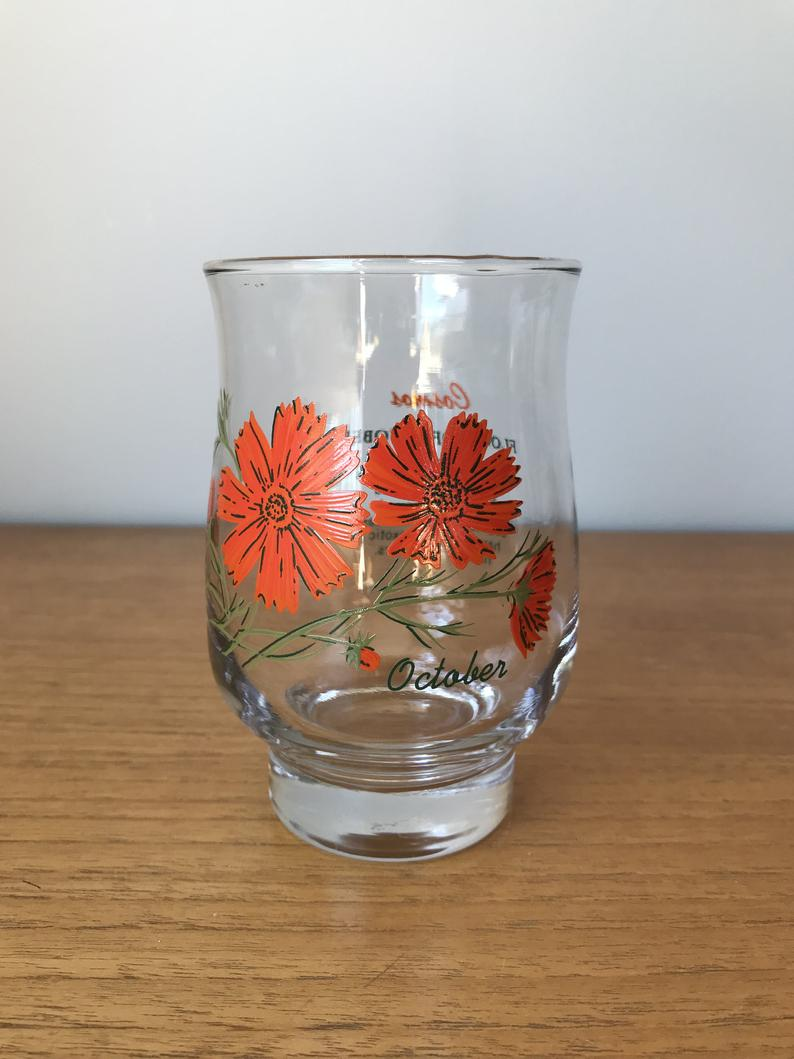 October Vintage Drinking Glass, Flower of the Month Orange Cosmos Glass, Birthday Gift Idea, Glassware