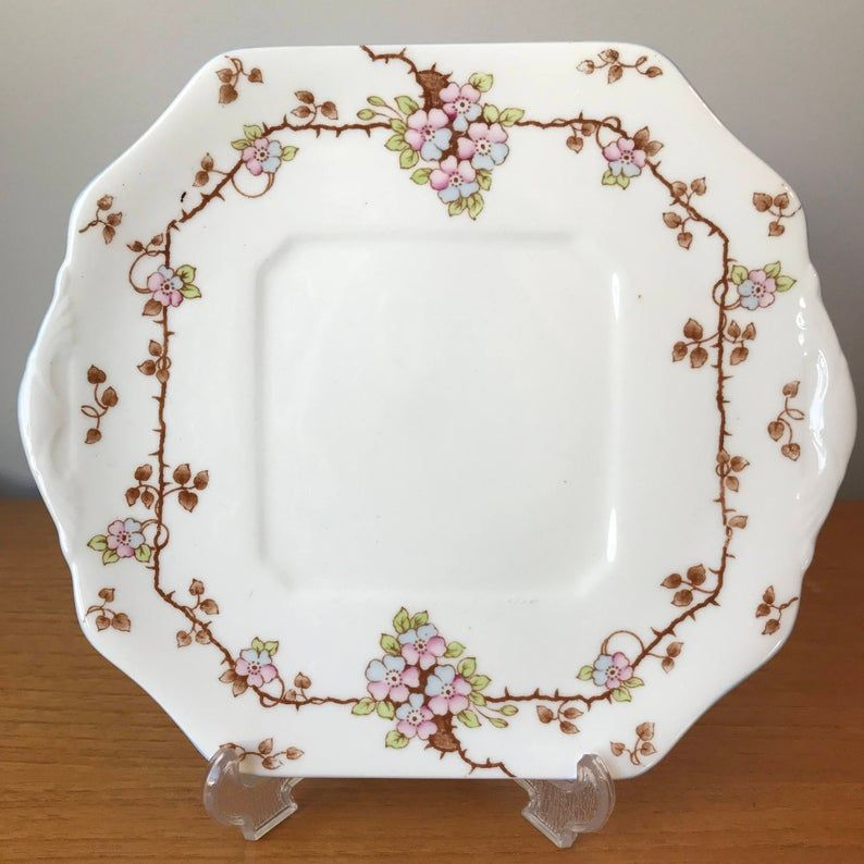 Old Royal Small Dessert Tray, Vintage Cake Plate, Bone China Serving Dish, Pink and Blue Flowers, Brown Vines Green Leaves, 1930s