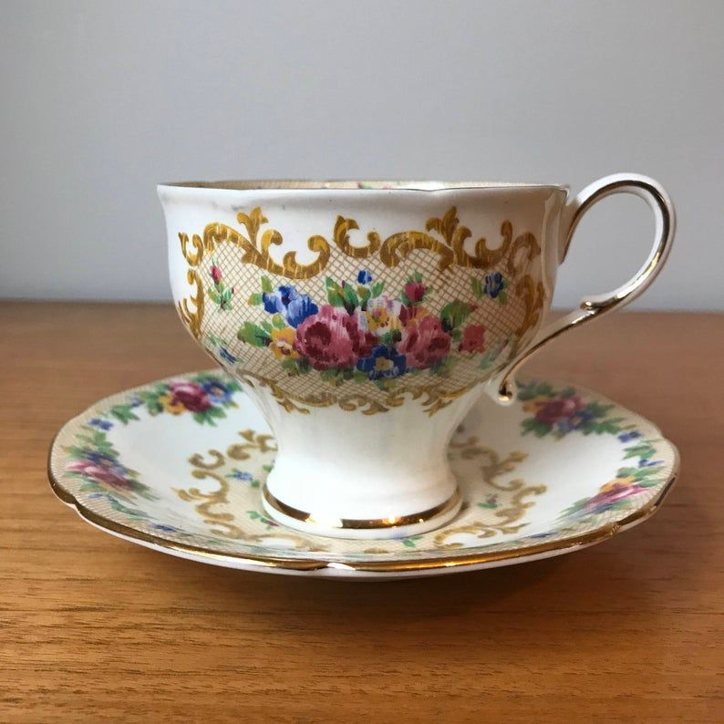 Paragon Minuet Rose Teacup and Saucer, Floral Tapestry Tea Cup and Saucer, Vintage Bone China, Tea Party Corset Shape