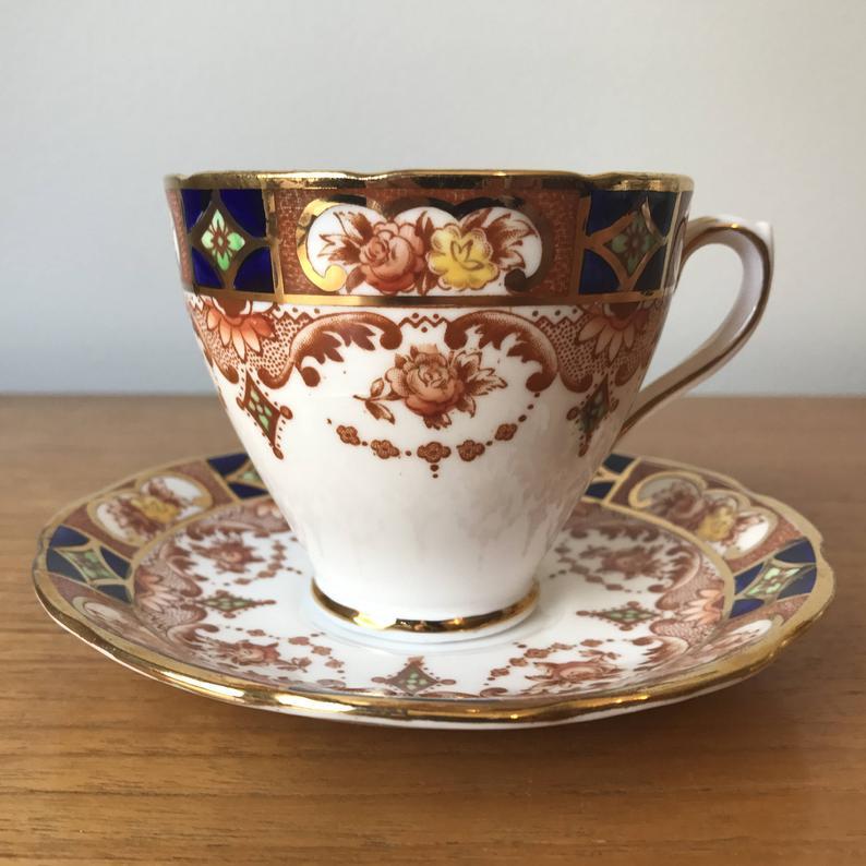 Phoenix Vintage Tea Cup and Saucer, Imari Pattern Cobalt Blue and Brown Rose Teacup and Saucer, Bone China