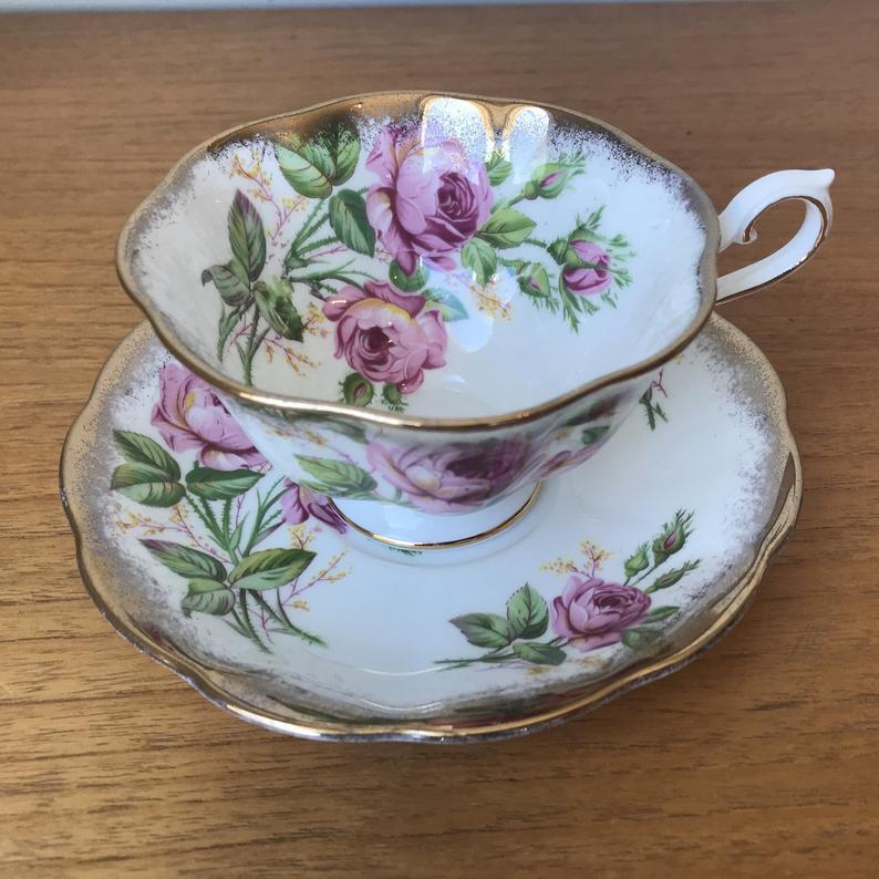 Pink Rose China Tea Cup and Saucer, Royal Albert Teacup and Saucer, Heavy Gold, Bone China