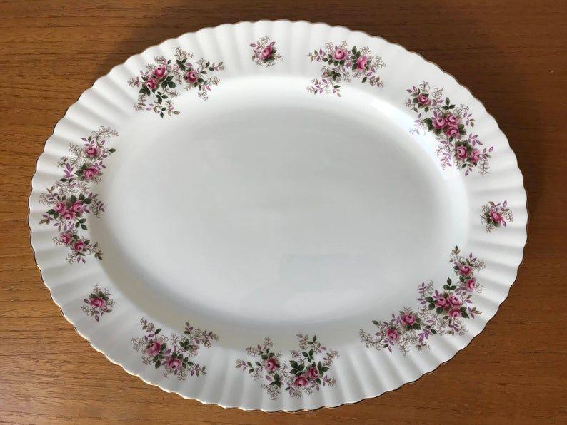 Royal Albert Lavender Rose Vintage Large Platter, Pink Rose Purple and Green Leaves Serving Dish, Bone China Tray
