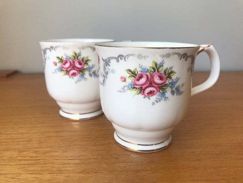 Pink Rose Royal Albert Coffee Cups, Tranquility Mugs, Vintage Bone China, Pair of Floral Coffee / Tea Cups