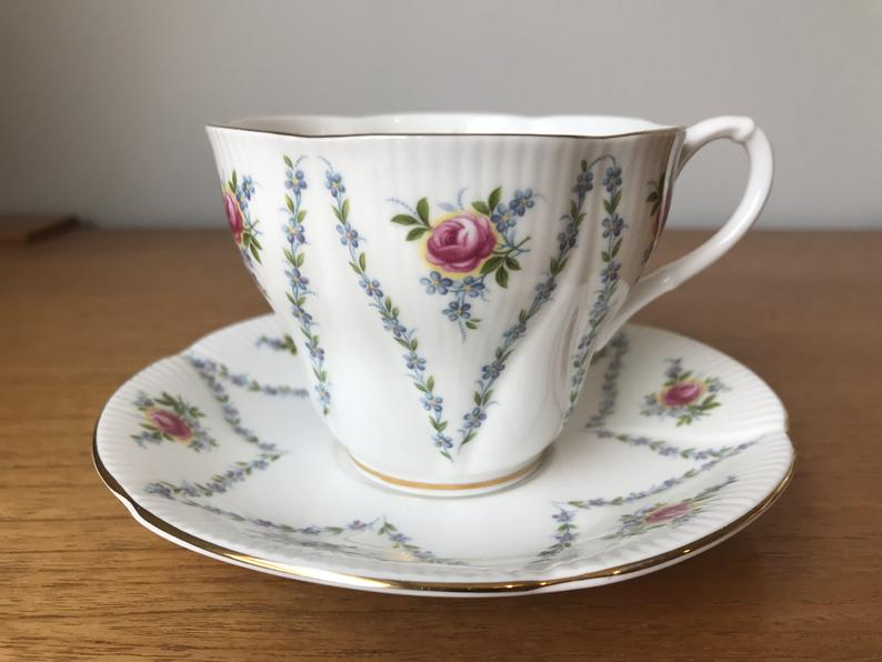Tea Cup and Saucer, English Royal Albert Minuet Pink Roses Blue Flowers Teacup and Saucer, Floral Bone China