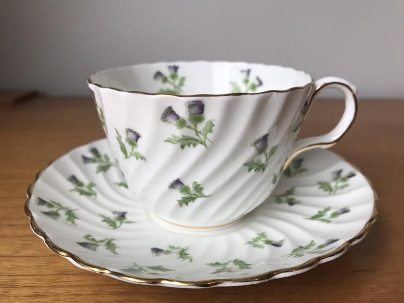 Purple Thistle Tea Cup and Saucer by Aynsley China, Vintage Teacup and Saucer, Birthday Gift