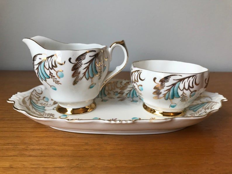 Queen Anne Cream and Sugar set, Blue and Gold Vintage Bone China Creamer and Sugar Bowl with Serving Tray