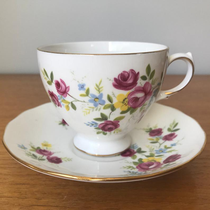 Floral Tea Cup and Saucer, Queen Anne Pink Rose Teacup and Saucer