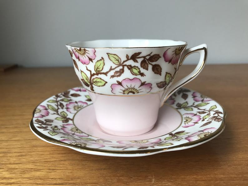 Rosina China Tea Cup and Saucer, Pink Flower Teacup and Saucer, Vintage Bone China Cup