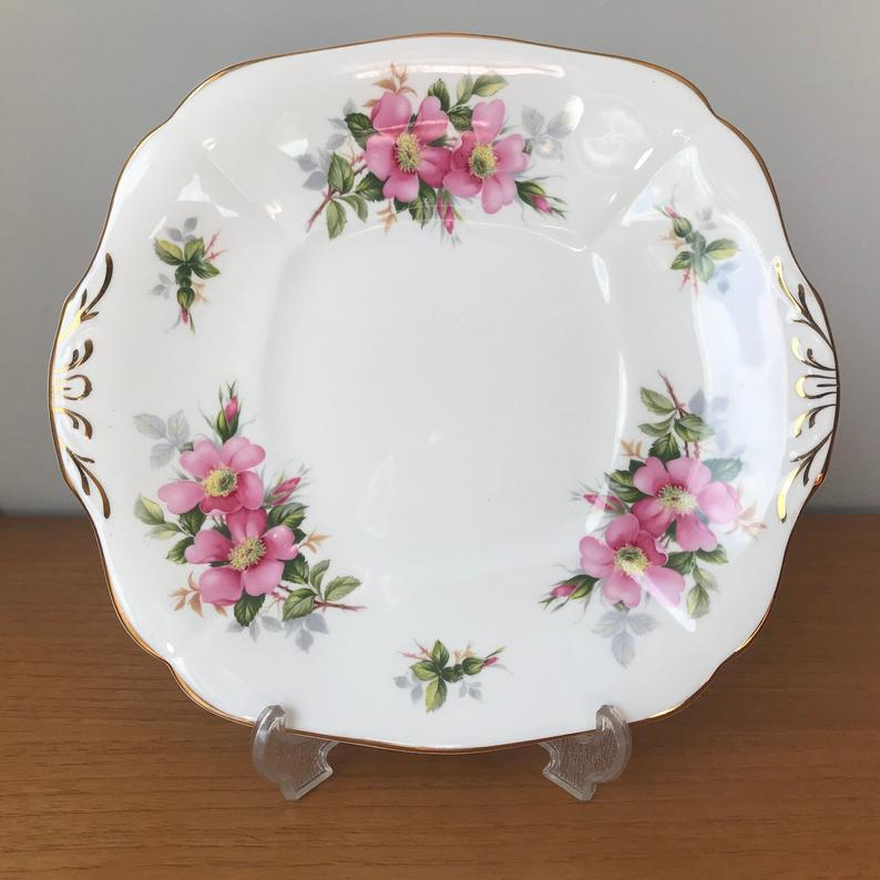 Royal Adderley Prairie Rose China Tray, Pink Wild Rose Serving Plate, Canadian Provincial Flowers, Bone China Dish
