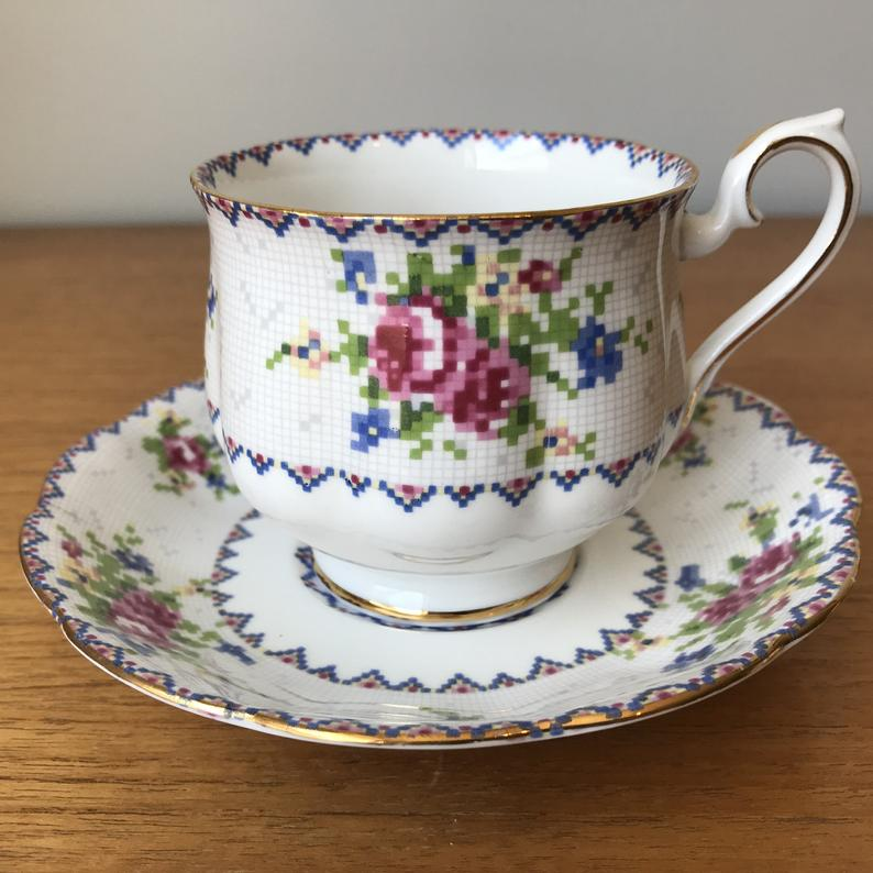 Royal Albert Petit Point Vintage Teacup and Saucer, Rose Cross Stitch Needlepoint Floral Tea Cup and Saucer, English Flower Bone China