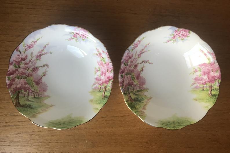 China Dessert Bowls, Set of Two Cereal Bowls, Royal Albert Blossom Time Bowls