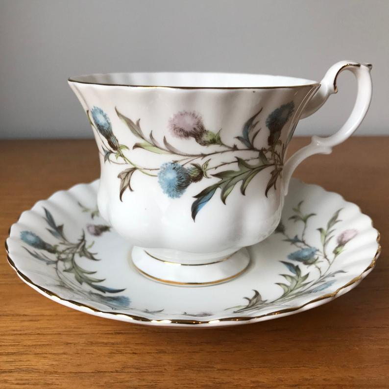 Royal Albert Brigadoon Tea Cup and Saucer, Blue and Purple Thistle Teacup and Saucer, Fine Bone China
