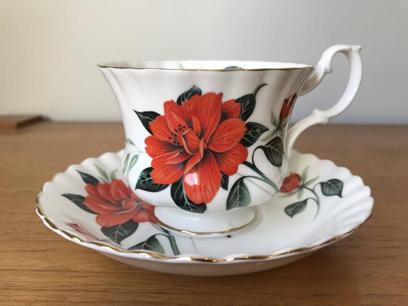 Royal Albert Bright Red Floral Tea Cup and Saucer Vintage English Bone China Teacup and Saucer