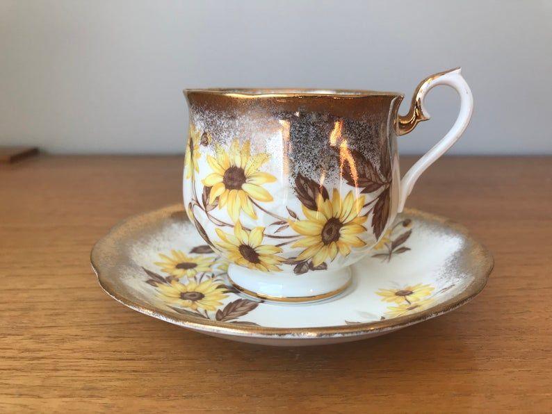 Royal Albert Brown Eyed Susan Teacup and Saucer, Vintage Bone China Tea Cup and Saucer, Heavy Gold