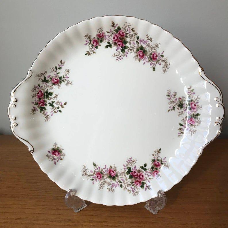 Royal Albert Cake Plate, Lavender Rose Dessert Tray, English Bone China, Serving Dish, 1960s