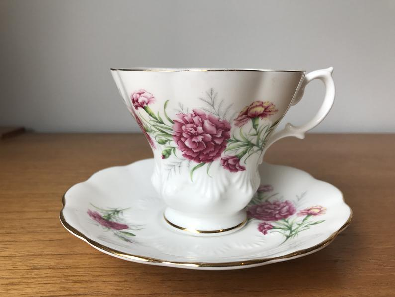 Royal Albert Carnation Friendship Series Vintage Teacup and Saucer, Pink Flower Tea Cup and Saucer, English Floral Bone China
