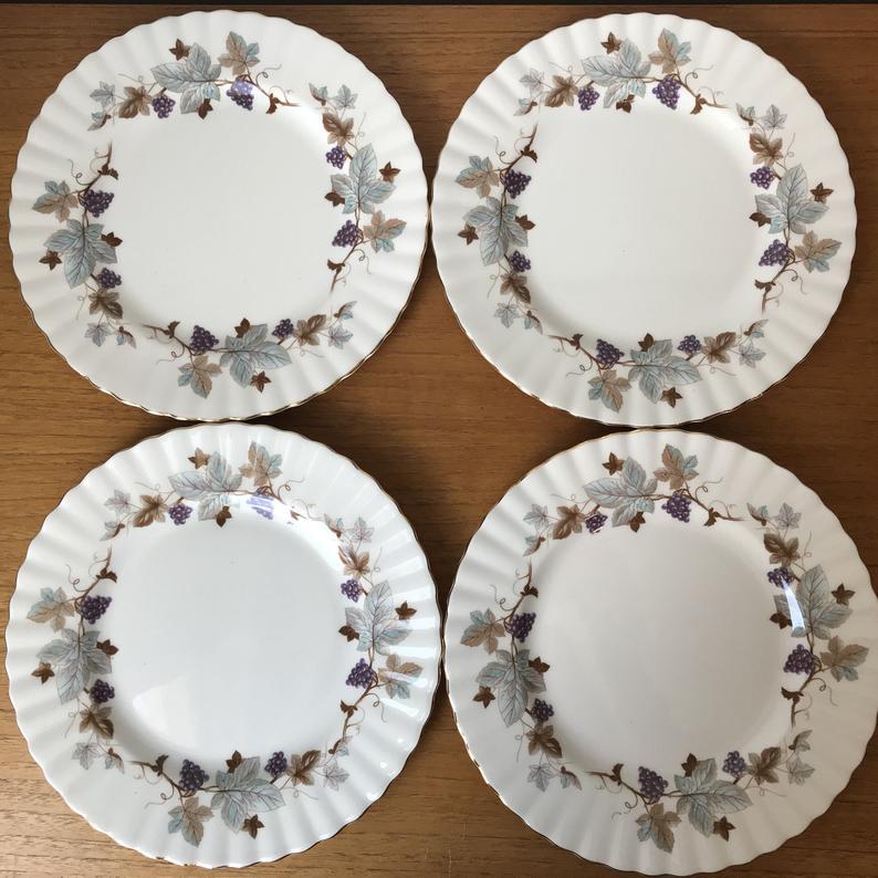 Royal Albert China Plates, Lorraine Salad Plates, Purple Grapes, Blue-Grey Leaves, Brown Vines Plates, Bone China Dishes