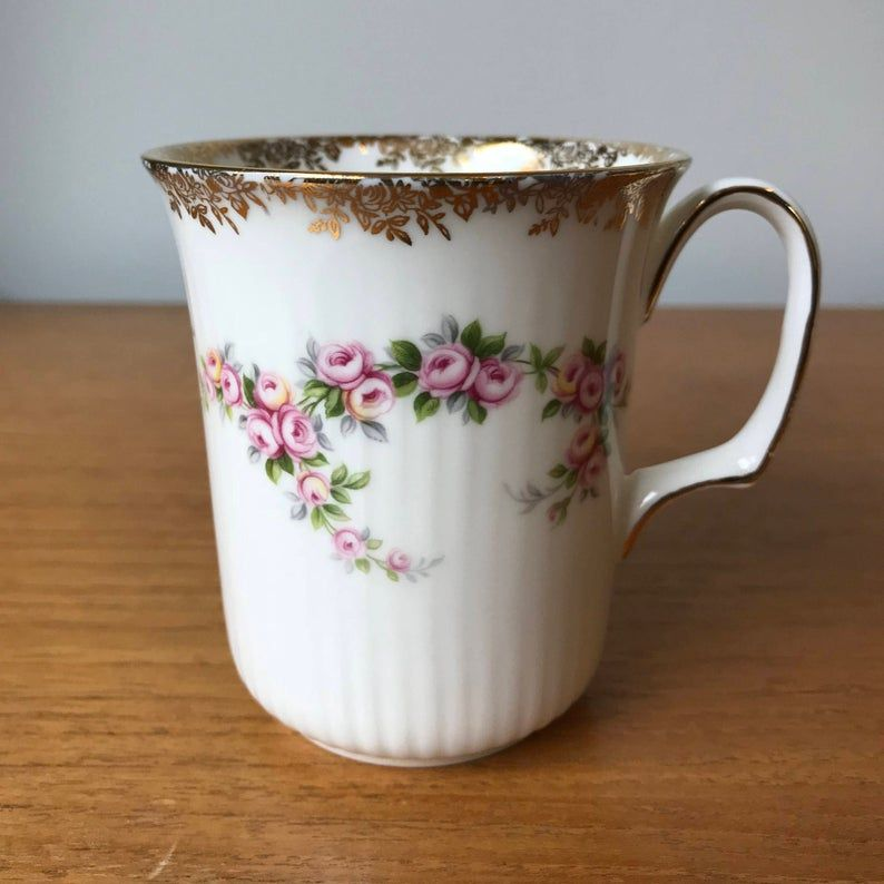 Royal Albert Dimity Rose Vintage Coffee Cup, Pink Rose, Gold Floral Trim Coffee Mug, Bone China