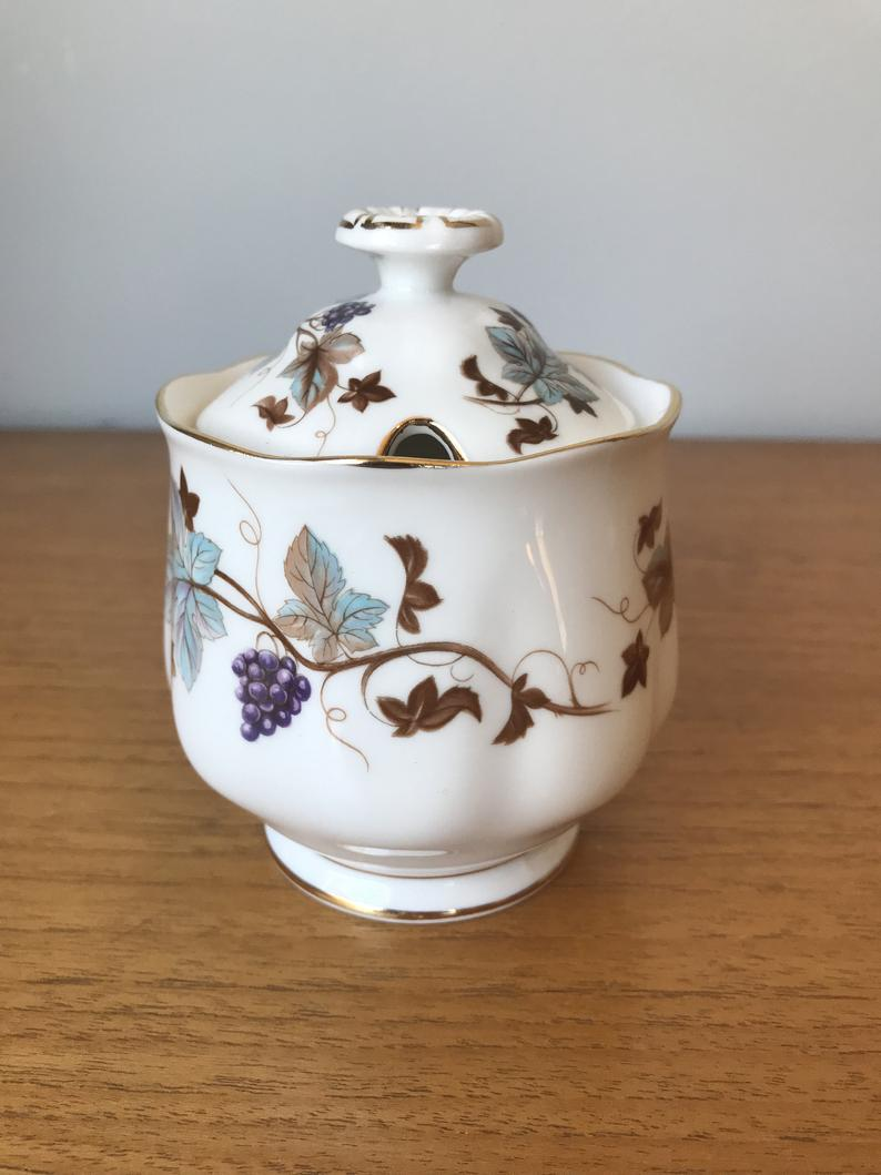Royal Albert Jam Jar, Grapes and Vines Lorraine Condiment Jar with Lid, Preserves Pot, Fine Bone China