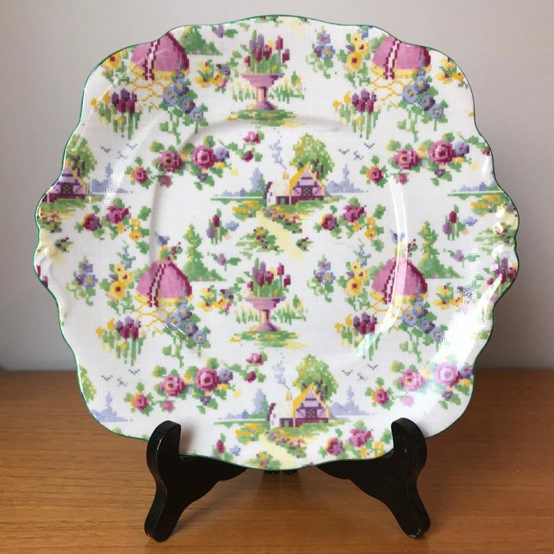 Royal Albert Lady Gay Vintage Cake Plate, Serving Dish, Bone China Tray, Floral Lady Cottage Cross Stitch Pattern, Crown China 1920s 1930s