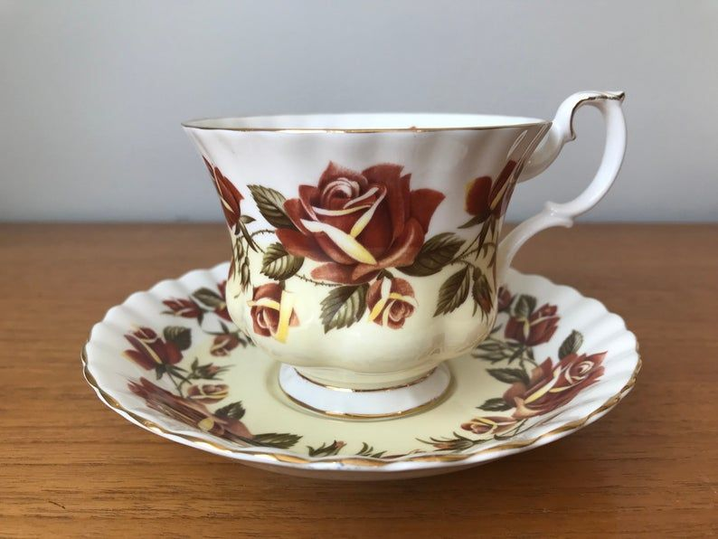 Royal Albert Lakeside Series Tea Cup and Saucer, Thirlmere Autumn Rose Teacup and Saucer, Bone China