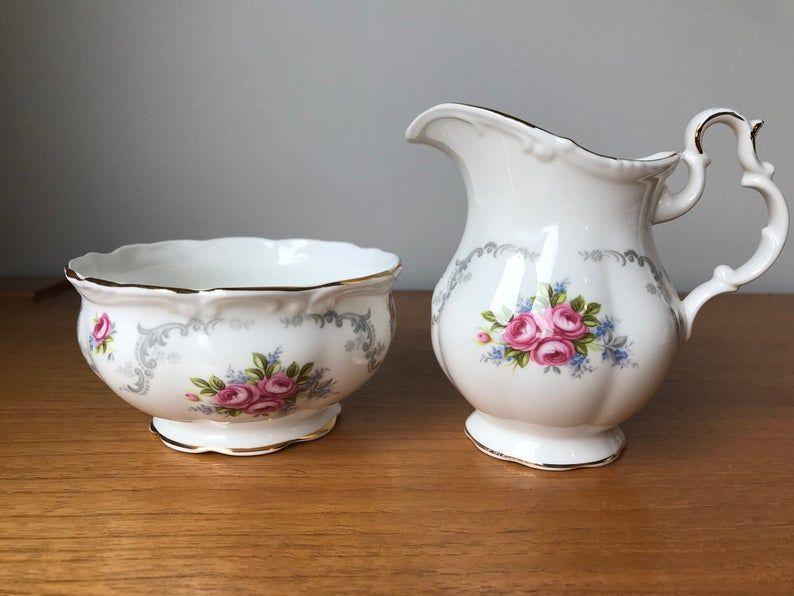 Royal Albert Large Cream and Sugar set, Tranquility Pink Rose Vintage Creamer and Sugar Bowl, Bone China Milk Pitcher