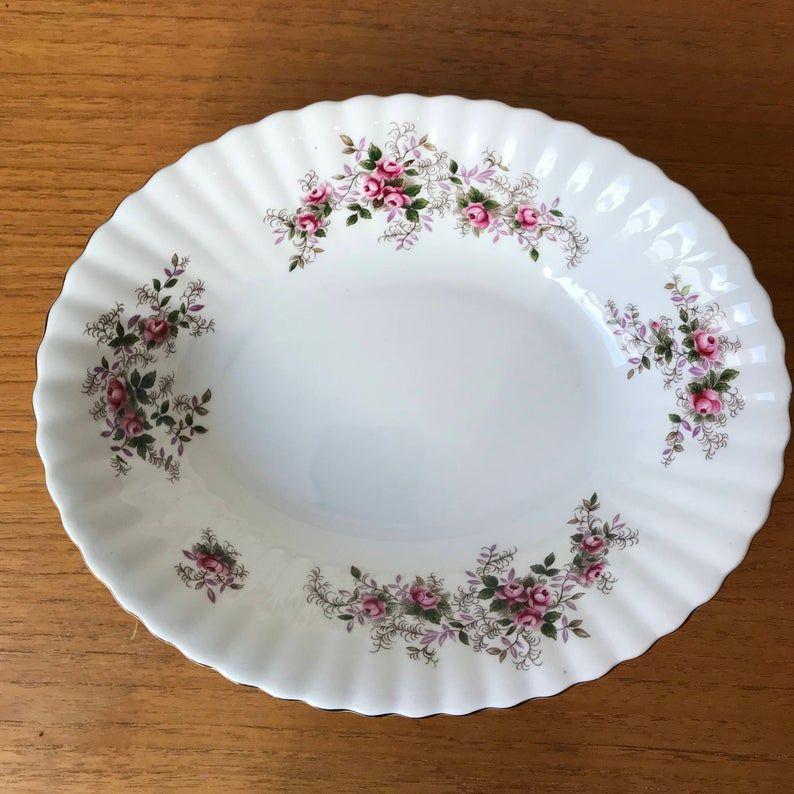 "Royal Albert Lavender Rose Serving Bowl, 9"" Oval Vegetable Bowl, Bone China Serving Ware, Pink Roses"