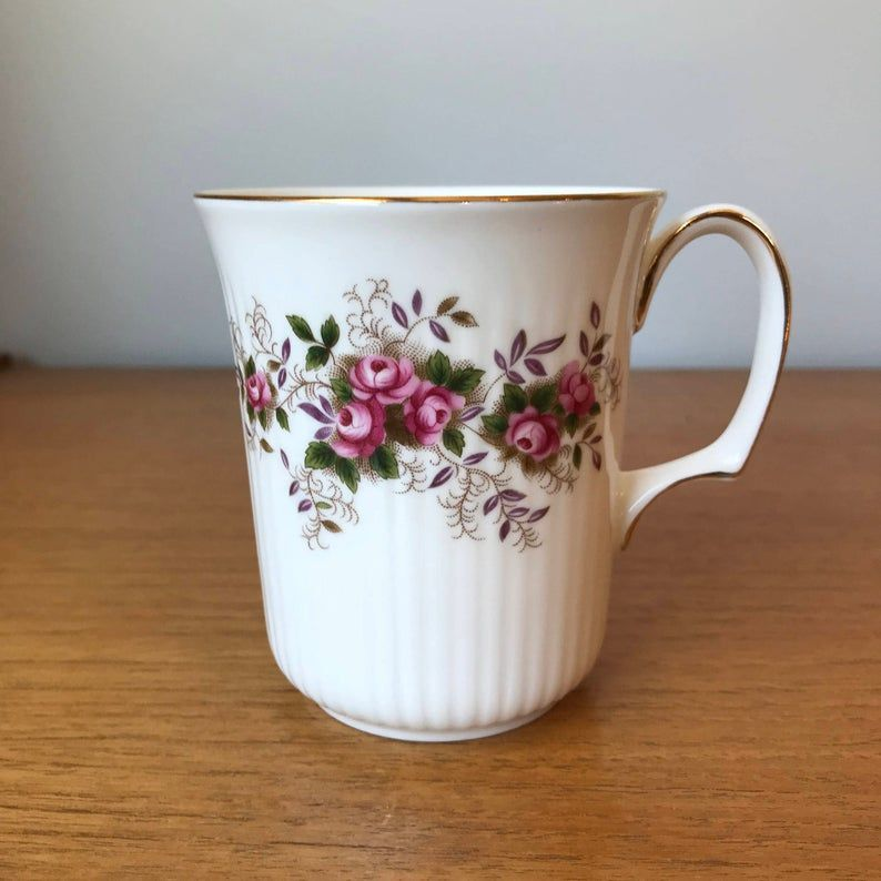 Royal Albert Lavender Rose Vintage Coffee Mug, Pink Rose Purple and Green Leaf Coffee Cup, Bone China, Made in England, Tall Shape
