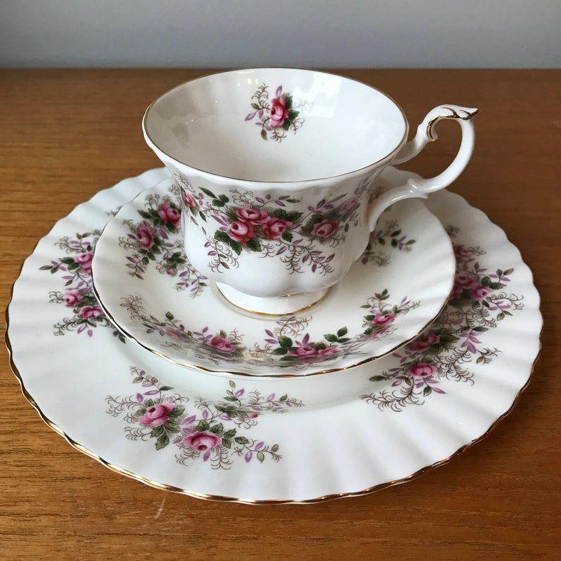 Royal Albert Lavender Rose Vintage Tea Cup Trio, Pink Rose Purple Leaves Teacup Saucer and Salad Plate, English Bone China, 1960s