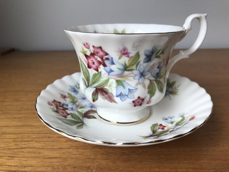 Royal Albert Summertime Series Tea Cup and Saucer, Pink and Blue Floral Bourton Teacup and Saucer, Vintage Fine Bone China