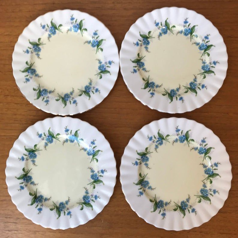 Royal Albert Tea Plates, Blue Forget Me Not Flower China Plates, Bread and Butter Plates, Dinnerware