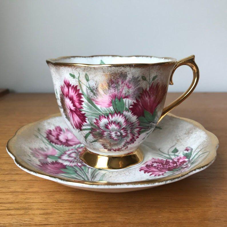 Royal Albert Teacup and Saucer, Pink Carnation Tea Cup and Saucer Sprayed Gold Bone China, 1950s