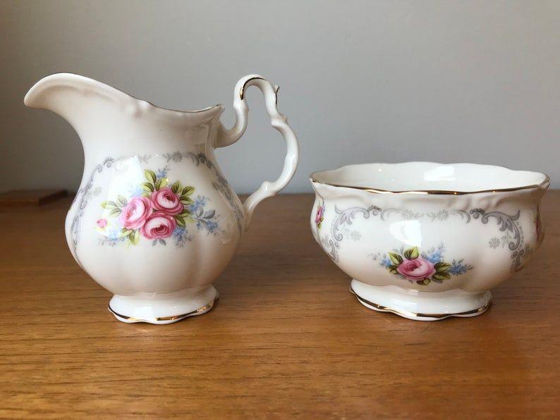 Royal Albert Tranquility Creamer and Sugar set, Vintage China Creamer and Sugar Bowl, Pink Roses Milk Pitcher