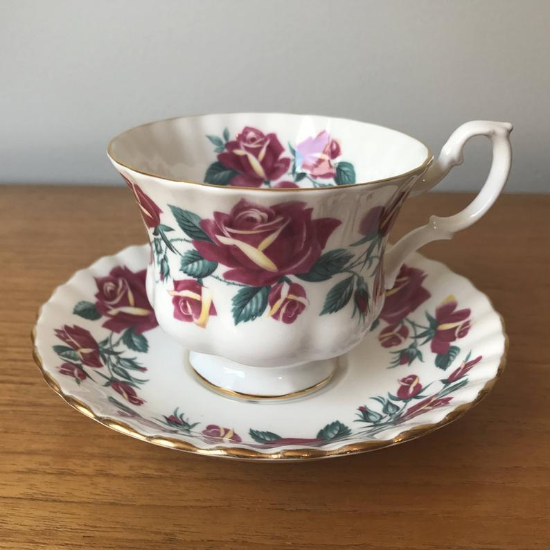 Royal Albert Windermere Lakeside Series Teacup and Saucer, Pink and Yellow Rose Tea Cup and Saucer, Vintage Bone China