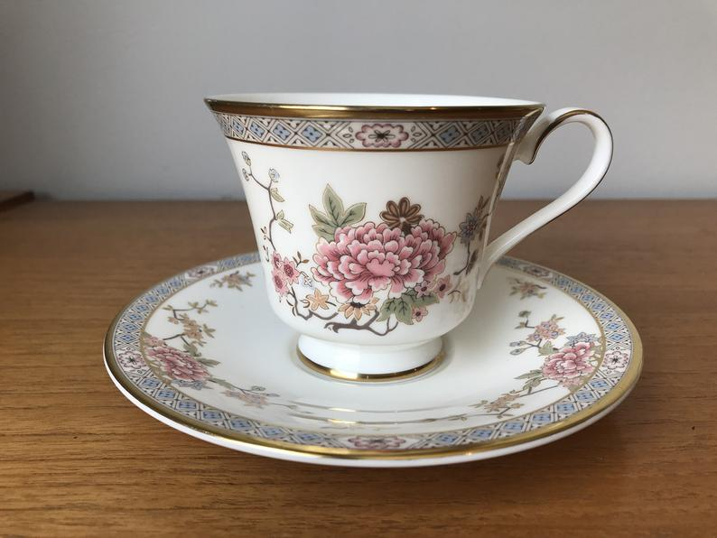 Royal Doulton Canton Coffee Cup and Saucer, Pink Flower Teacup and Saucer, Fine Bone China