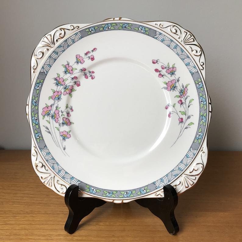 Royal Grafton Chiltern Vintage Cake Plate, Pink and Blue Flower Grey Border Serving Tray, English Floral Bone China Dish