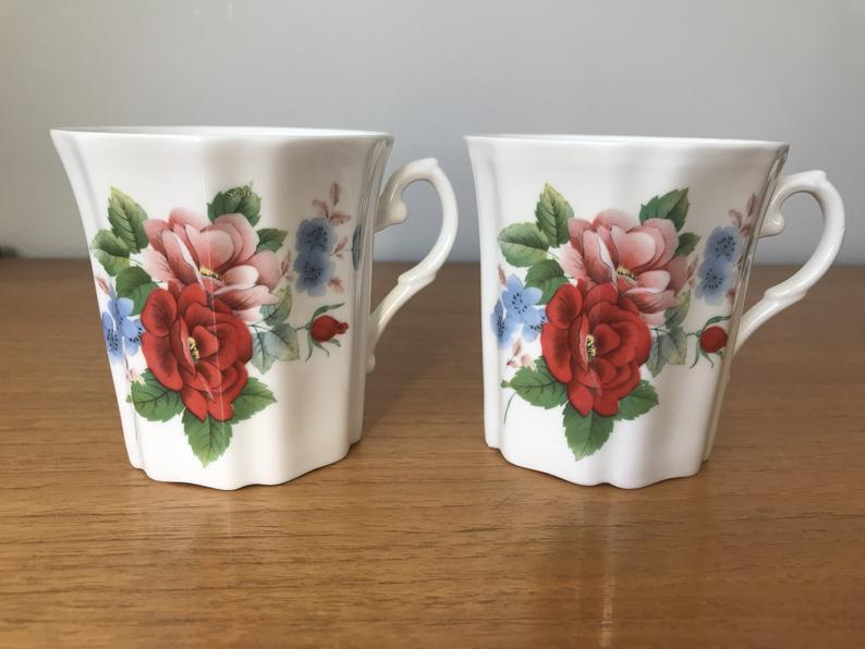 Royal Grafton Coffee Mugs, Pink Red and Blue Floral Coffee Cups, Bone China Cups
