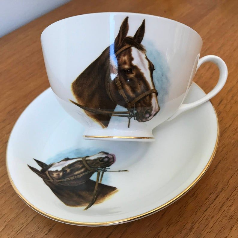 Royal Grafton Moustache Tea Cup and Saucer Horse Equestrian Teacup and Saucer Vintage Bone China