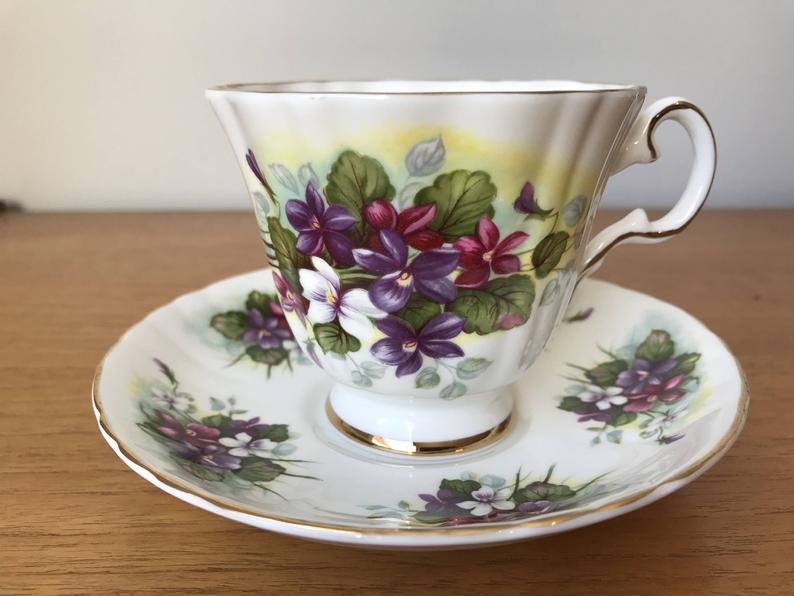 Royal Grafton Purple Violet Teacup and Saucer, Floral English China Tea Cup and Saucer