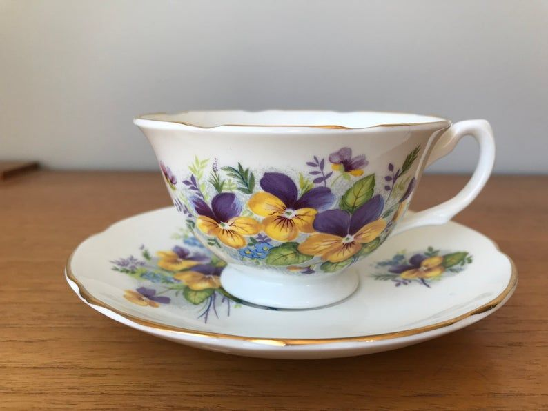 Royal Grafton Teacup and Saucer, Purple and Yellow Pansy Teacup and Saucer, Wide Shaped Bone China, Gift for Gardeners
