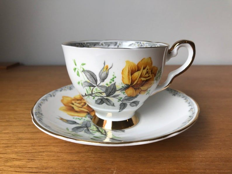 Royal Stafford Roses To Remember Bone China Tea Cup and Saucer, Deep Yellow Rose Teacup and Saucer, Friendship Gift