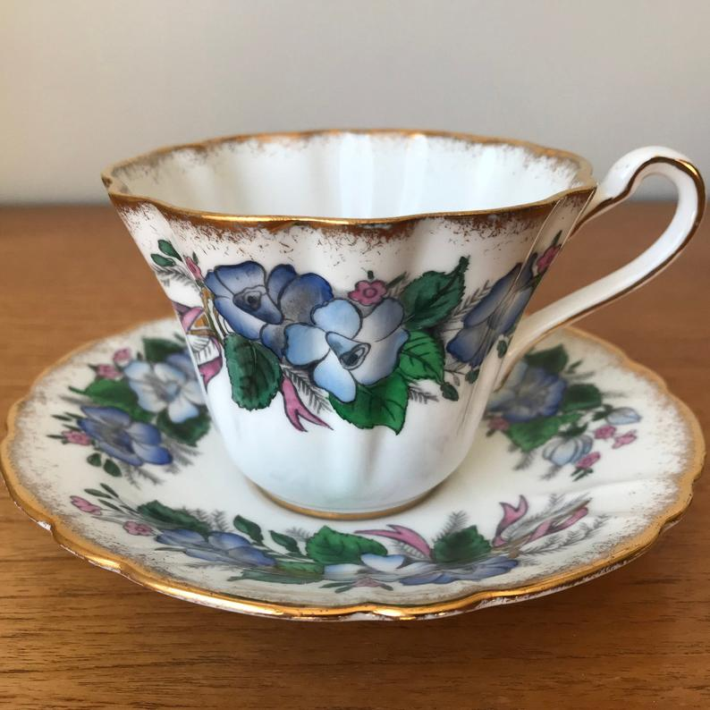 Royal Stafford Bridal Shower Special Occasions Series Vintage Teacup and Saucer, Blue & Pink Floral Ribbons Bone China Tea Cup and Saucer