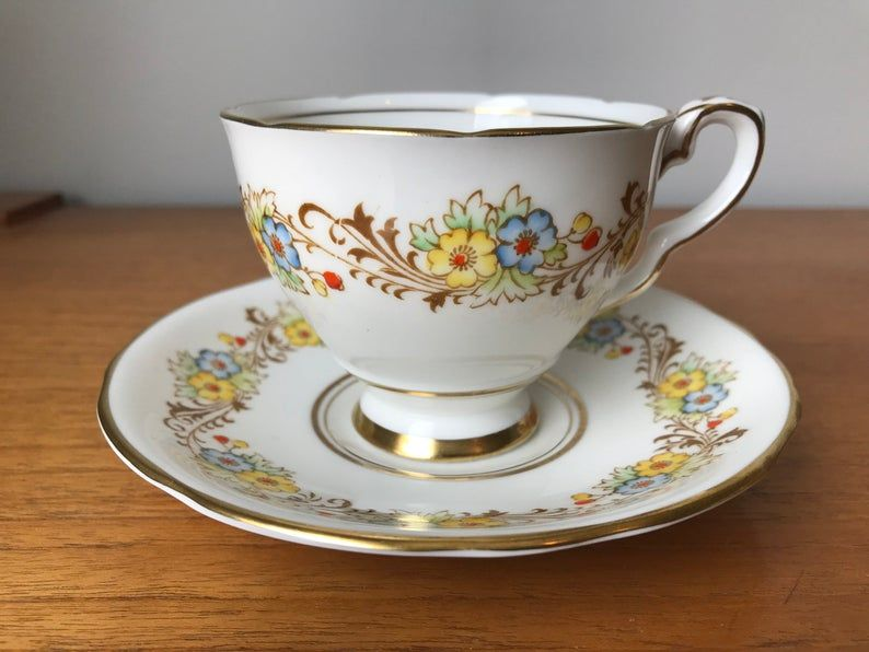 Royal Stafford Floral Tea Cup and Saucer, Flower Teacup and Saucer, Vintage Bone China