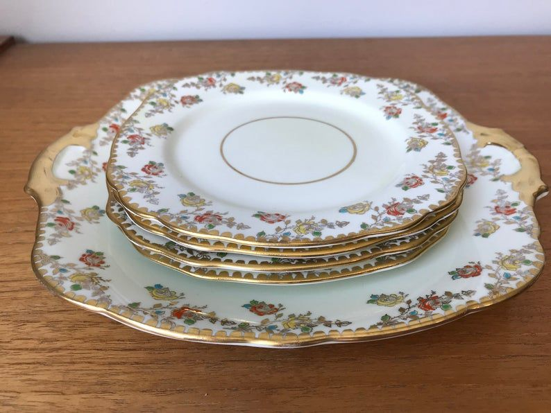 Royal Stafford Plate set, Bone China Serving Tray and Plates, Yellow and Orange Rose Dishes